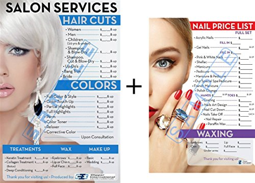 Salon Posters Price List for Beauty Salon and Nail Salon In A Combo Already