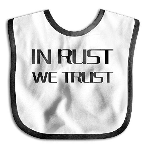 In Rust We Trust Kids Baby Cute Feeding Snap Buttons Cotton Saliva Towel Lunch Bibs Black