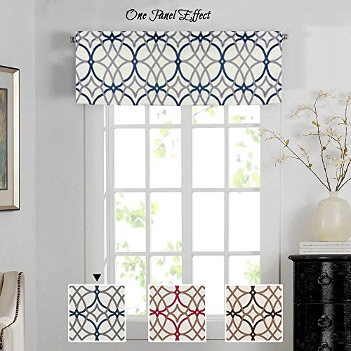 H.VERSAILTEX Energy Saving Curtain Valances for Living Room, Matching with Curtain Panels (Rod Pocket 1 Panel, 52 by 18 Inch, Geo in Grey and Navy) ()