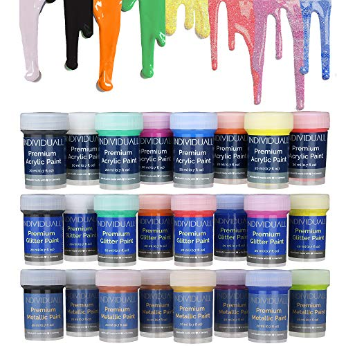 All-in-ONE Metallic + Glitter + Acrylic Paint Set by individuall - Professional Grade Acrylic Paints Set - Acrylic Hobby Paints Made in Germany - Craft Paints Set, Vivid Colors