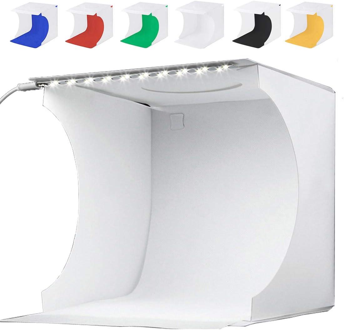 Mini Portable Photo Studio Box 9 x 9 Inches Foldable Home Photography Shooting Light Tent Kit with LED Light Strips + 6 Colors Backdrops