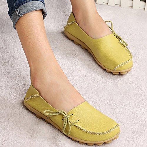 Oriskey Mocasines de cuero mujer Loafers Casual Zapatos Zapatillas Manzana Verde