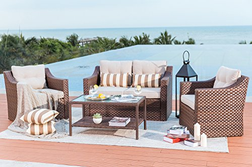 Solaura Outdoor Fully Woven 4-Piece Conversation Furniture Set All Weather Brown Wicker with Beige Waterproof Cushions & Sophisticated Glass Coffee Table | Patio, Backyard, Pool (All Weather Brown Wicker)