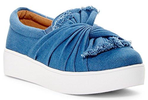 Catherine Catherine Malandrino Drapie Donna Fashion Twist Slip-on Platform Sneaker Blue Denim