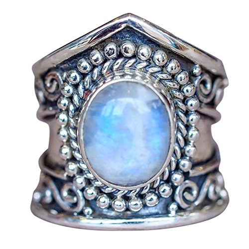 Six Gemstone (Muranba Boho Jewelry Silver Natural Gemstone Marquise Moonstone Personalized Ring (Blue, 6))