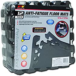 "Performance Tool W88988 Protective Diamond Shape Anti-Fatigue Interlocking Floor Mat, 12 sq.ft./12"" x 12"", Gray"