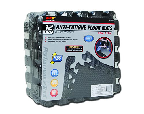 Performance Tool W88988 Protective Diamond Shape Anti-Fatigue Interlocking Floor Mat, 12 sq.ft./12