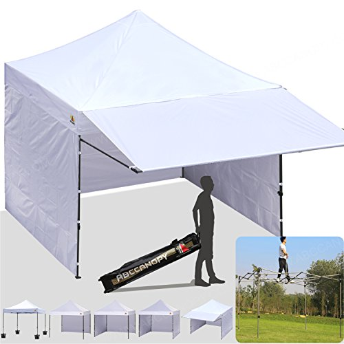 ABCCANOPY 10x10 Easy Pop up Canopy Tent Instant Shelter Commercial Portable Market Canopy with Matching Sidewalls, Weight Bags, Roller Bag,BOUNS Canopy awning (Deluxe 10x10 White awning pkg (Commercial Canopy Tent)