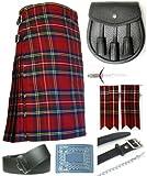 Mens Royal Stewart Tartan 7 Piece Casual Kilt Outfit Size: 30'' - 32''