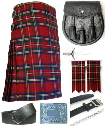 Mens Royal Stewart Tartan 7 Piece Casual Kilt Outfit Size: 42'' - 44'' by Kilt Society