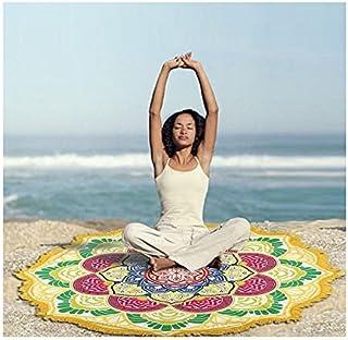 Nalmatoionme Mode Style Indien Mandala Lotus Tapis de Yoga Couverture Serviette de Plage–Jaune