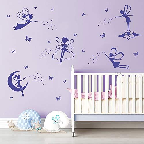 - ufengke Purple Fairy Silhouette Wall Stickers Tinkerbell Butterflies Wall Art Decals for Girls Bedroom Nursery