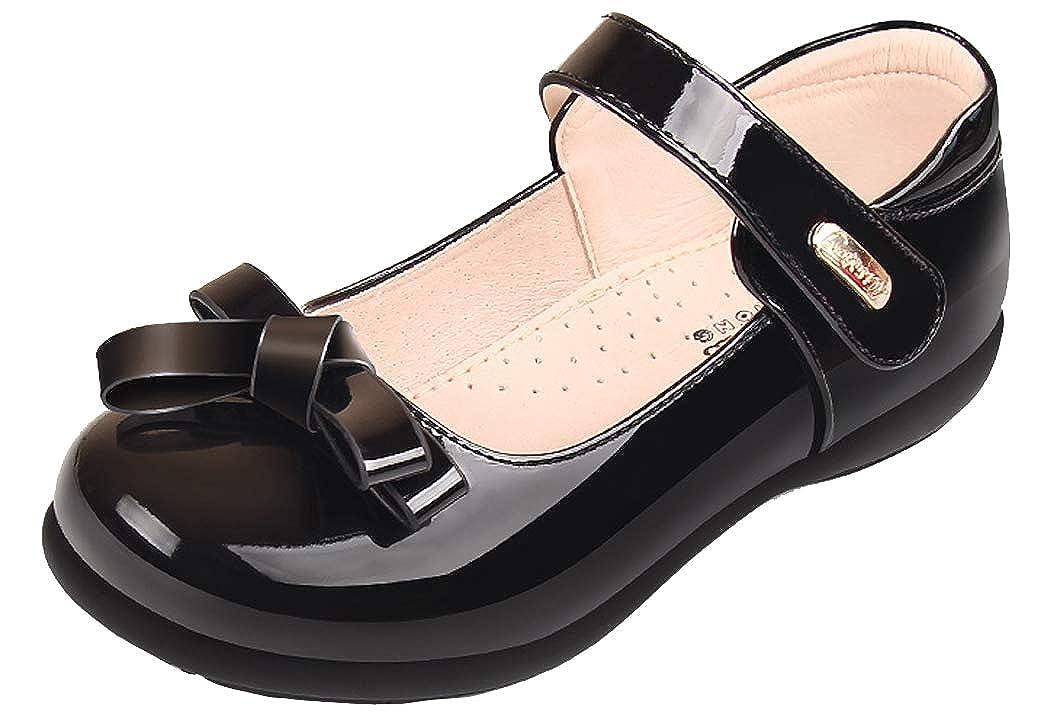 Sunny-U Girls Black Patent Bowknot Leather Mary Jane School Shoes