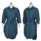 SOURBAN Women 3/4 Sleeve Loose Shirt Dress Lady Lace-up Shirt Dress