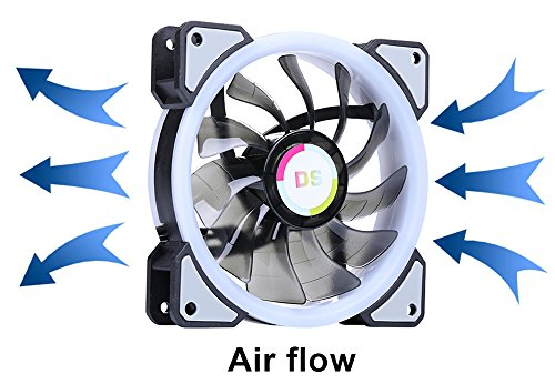 LEDdess RGB LED 120mm Case Fan with Controller for PC Cases, CPU Coolers, Radiators system (3pcs rgb fans, 2pcs led strips, 2nd Gen RF Remote Control, A Series) by LEDdess (Image #4)'
