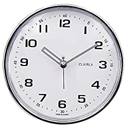 CLAIRLA - Waterproof Small Clocks 4.9 inch for washroom/Restroom Shower with Suction Cup - Sauna Water Resistant Wall Decorative Clock with Quiet Sweep Movement for Bathroom/Bedroom(M-Circle)