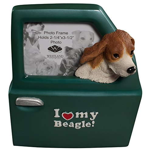 WL SS-WL-18901 I Love My Beagle Inscription Photo Frame With Dog Head Out Car Window