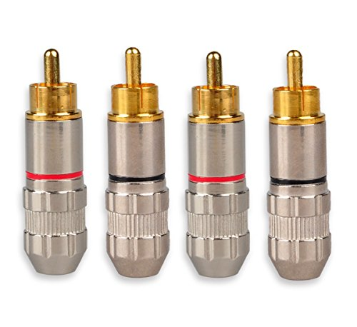 (HTTX RCA Male Plug Adapter, RCA Repair Ends, Audio Phono Gold Plated Solder Connector for Speaker Wire (4-Pack))