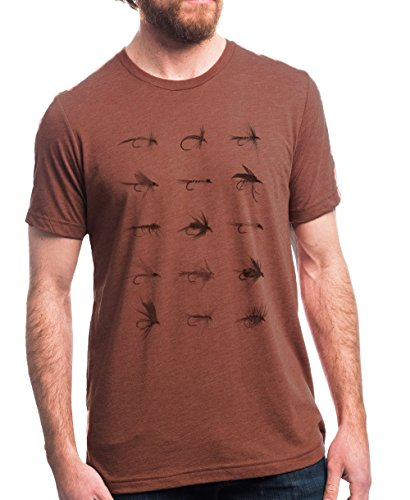 Men's T-Shirt - Fly Fishing Fly Chart - Men's/Unisex Heather Clay T-Shirt