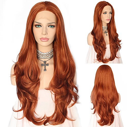 QD-Udreamy Trendy Fashion Natural Long Wavy Auburn Brown Color Synthetic Half Hand Tied Heat Resistant Lace Front Wigs 24 -