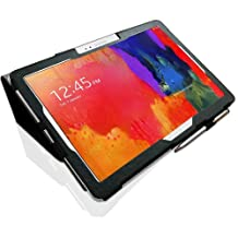 Samsung Galaxy NotePRO 12.2 (P9000 / P9010) Custom Made Multi-Angle 'Pen' Case with Stand Function, Sleep / Wake Sensor and 2 in 1 Stylus / Biro Pen by LuvTab® (Black)