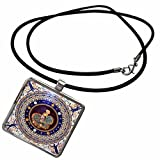 3dRose Carsten Reisinger - Photography - Athena mosaic in the Sala a Croce Greca - Necklace With Rectangle Pendant (ncl_212564_1)