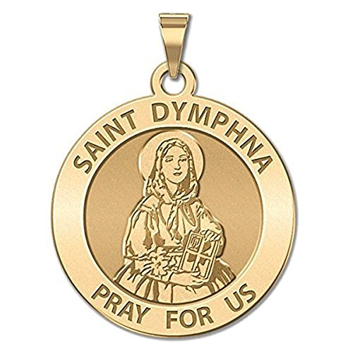(Saint Dymphna Round Religious Medal - 2/3 Inch Size of Dime, Solid 14K Yellow Gold WITH ENGRAVING)