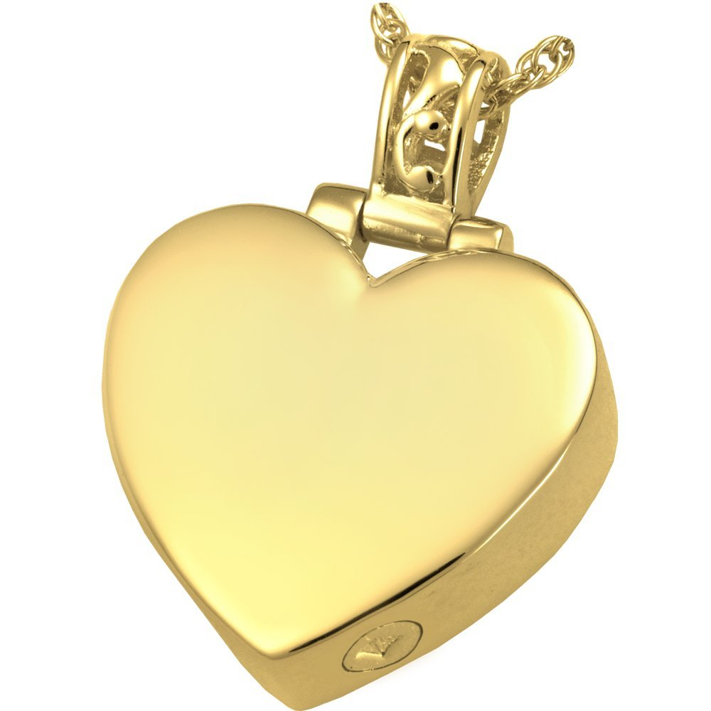 Memorial Gallery MG-3149gp Filigree Bail Heart 14K Gold/Sterling Silver Plating Cremation Pet Jewelry