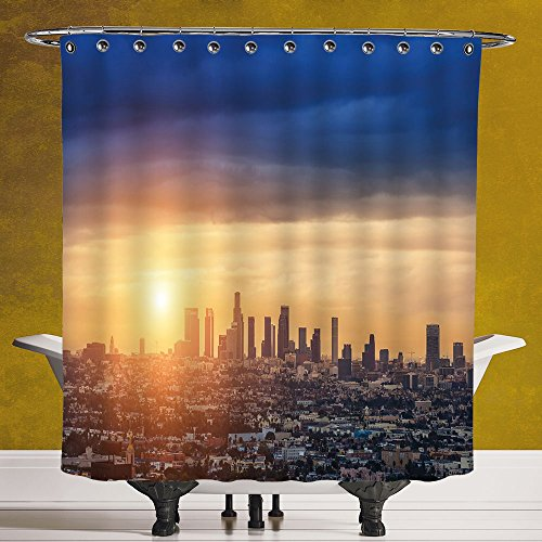 Durable Shower Curtain 3 0 By Scocici   City Sunrise At Los Angeles Urban Architecture Tranquil Scenery Majestic Sky Navy Blue Apricot Ivory   Fabric Shower Curtain
