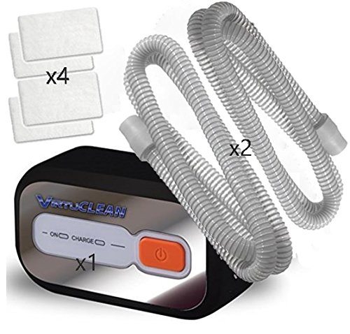 VirtuCLEAN CPAP and Mask Automatic Cleaner Value Pack w/ SAP Supplies Kit 4pk S9 / S10 Filters & 2pk Standard Cpap Tubing