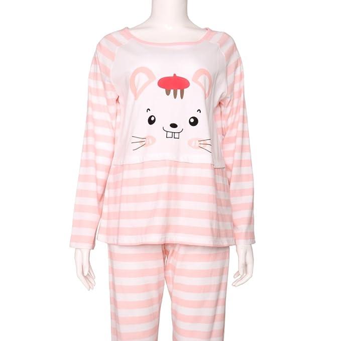 Primavera Pijamas de Dibujos Animados/Rayas Impresas Señoras Pijamas/Paquetes de Servicios a Domicilio