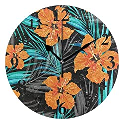 DERTYV Tropical Floral Flowers Non Ticking Silent Rhombus Wall Clock Decorative,Battery Operated Analog Quiet Round Wall Clock for Living Room, Kitchen, Bedroom