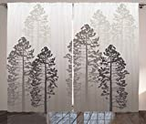 Ambesonne Country Curtains, Pine Trees in The Forest on Foggy Seem Ombre Backdrop Wildlife Adventure Artwork, Living Room Bedroom Window Drapes 2 Panel Set, 108 W X 84 L Inches, Warm Taupe