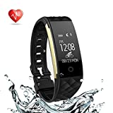 Fitness Tracker Waterproof Activity Tracker Heart Rate Monitor Smart Watch Wristband with Pedometer Sleep Monitor Step Calorie Counter Bluetooth Bracelet for iPhone and Android (black)