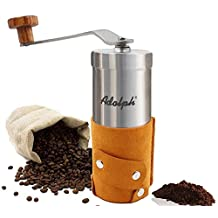 Adolph Premium Portable Manual Coffee Grinder with Authentic Leather Wrapped - Hand Crank Mill with Adjustable Ceramic Conical Burr - Top Grade