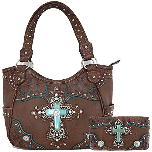 Western Rhinestone Cross Tooled Leather Totes Concealed Carry Purse Handbag Women Shoulder Bag Wallet Set (Brown - Purse Tooled Brown Leather Western