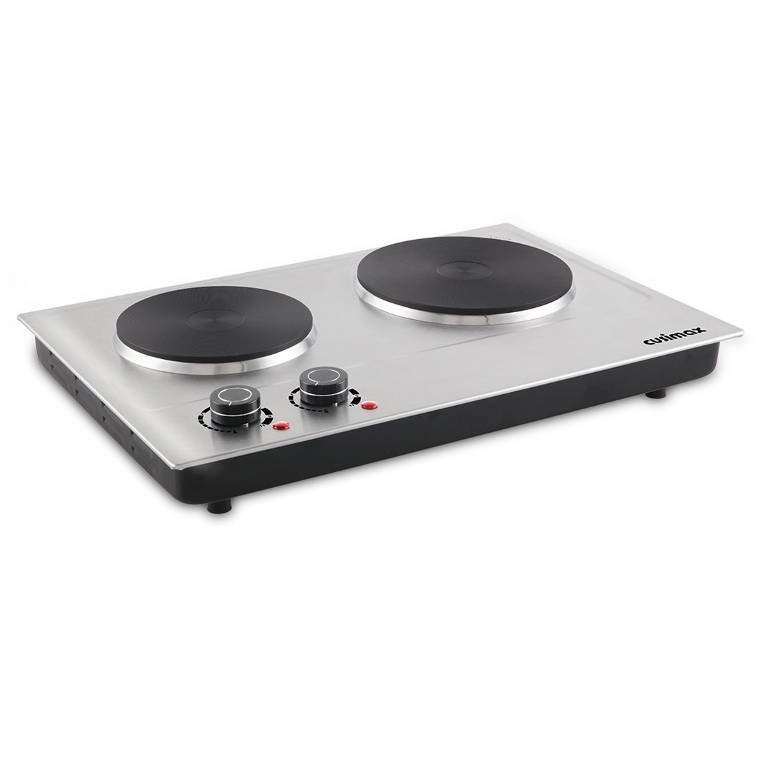 Cusimax CMHP-C180 Dual Electric Hot Plate - Portable Countertop Burner - 1800W - Stainless Steel