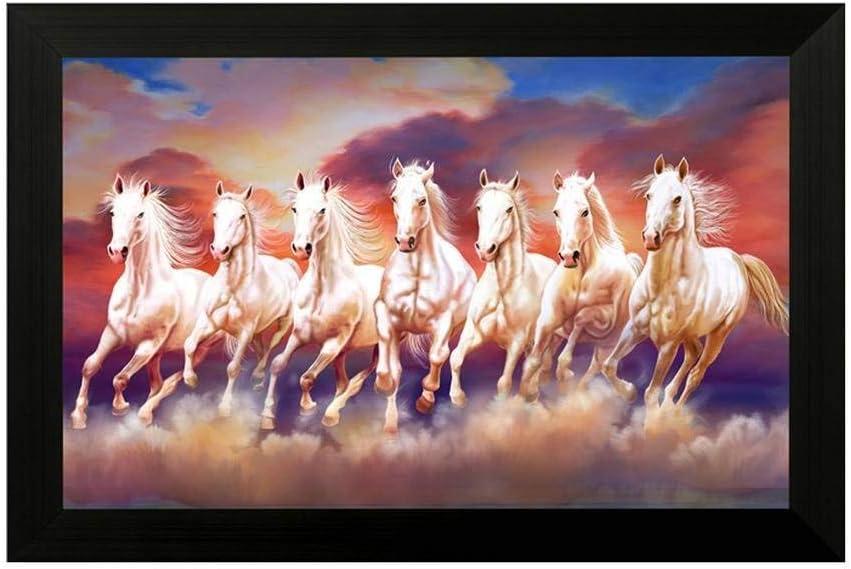 NOBILITY Seven Lucky Running Vastu Horses Painting Synthetic Framed Wall Art
