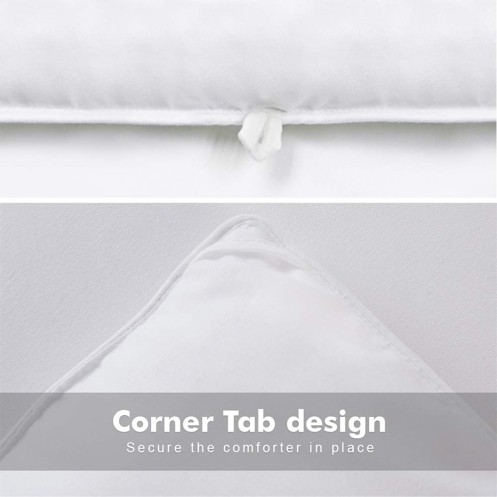 White,64 by 88 Inches TIBOON All Season Twin Comforter Summer Cooling Soft Quilted Down Alternative Duvet Insert with Corner Tabs,Warm Fluffy Reversible Hotel Collection