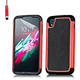 32nd® Shock proof dual defender case cover for Alcatel OneTouch Idol 3 mobile phone (5.5 inch version) + touch stylus - Red