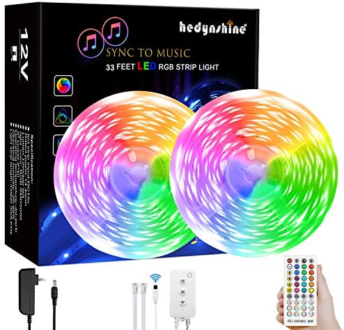 LED Strip Lights Music, Hedynshine 32.8 toes 300pcs chip Superbright Strip Lights with 40Key Remote,Sync to Music Led Strip Lights for Bedroom