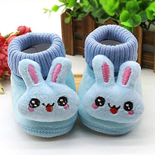 Lauflernschuhe,Amcool Weiche Sohle Luxus Schön Kaninchen Säugling Junge Mädchen Winter Prewalker Krippe Schuhe (Alter:3-6 Monate, Blau) Blau