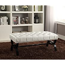 Baxton Studio Wholesale Interiors Viviana Style Faux Leather Upholstered Bench with Unique Curved X-Base, White
