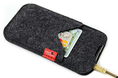 "Pack & Smooch Shetland iPhone X (5.8"") Cover Case made with 100% Merino Wool Felt and Natural Vegetable Tanned Leather - Dark Grey by Pack & Smooch (Image #2)"