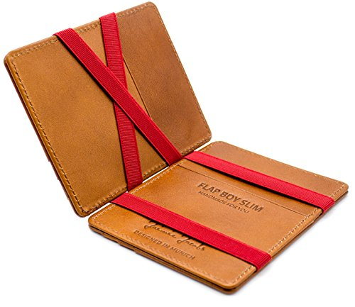 Magic Wallet Flap Boy Slim Front Pocket Jaimie Jacobs RFID (Vintage Cognac with Red)