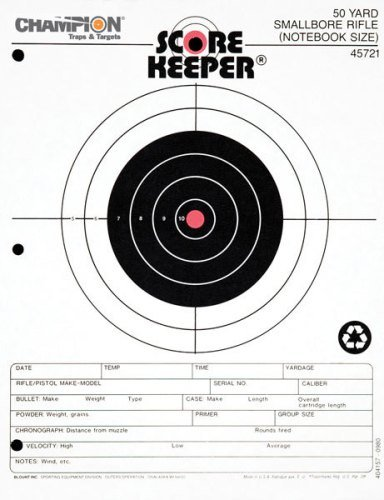 Champion Score Keeper Fluorescent Orange Bull 50-Yard Small Bore Notebook Target (Pack of - Bore Foot Small 50