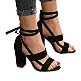 XMWEALTHY Women's Suede Open Toe Pumps Chunky Block Heeled Sandals Ankle Strap High Heels Black US 8