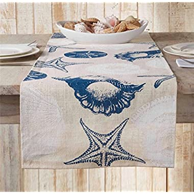 Mud Pie Nature's Beauty Collection Sea Shell Navy Color Table Runner