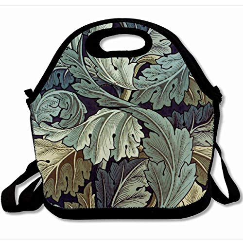 Ahawoso Reusable Insulated Lunch Tote Bag Doodlefly William Morris Acanthus Floral Design Vintage 10X11 Zippered Neoprene School Picnic Gourmet Lunchbox
