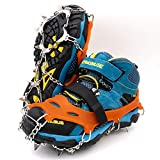 LeanKing Ice Snow Grips, Traction Cleats Ice Cleats with 18 Spikes for Walking, Jogging, Climbing and Hiking on Snow, Ice, Mud, Sand and Wet Grass (Orange (13 Spikes), S)